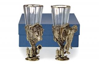 Лафитники Трофейные Африка 2шт (лев, слон)