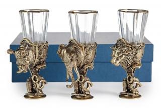 Лафитники Трофейные Африка 3шт (лев, носорог, слон)