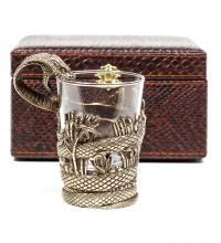 Стакан для виски Змей (кожа)